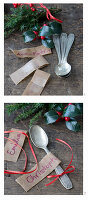 Decorating silver spoons with name tags, red ribbons and juniper sprigs