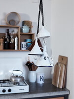 Homemade lamps made from vintage funnels