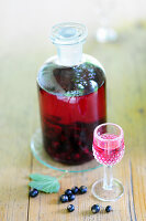 Home-made blackcurrant liqueur in glass and bottle