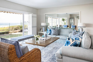 Elegant living room with panoramic view of sea