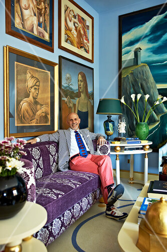 Art and art objects cover nearly every surface of this gallerist's home in Rome