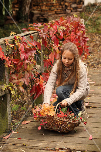 The garden yields colourful leaves, nuts and fruit to decorate your home