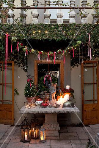 Festive décor using roses
