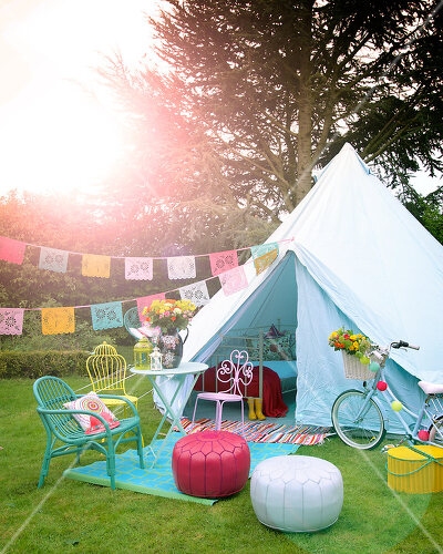 Camping is the inspiration for this romantic garden setting