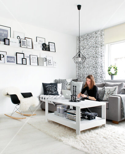White, black and grey are the only colours in this home in Estonia