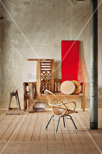 rattanstuhl gegen ber gartenm bel sitzb nke aus holz in. Black Bedroom Furniture Sets. Home Design Ideas