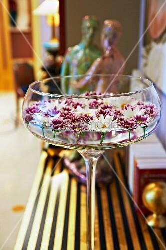champagnerschale mit schwimmenden bl ten auf vergoldeter. Black Bedroom Furniture Sets. Home Design Ideas