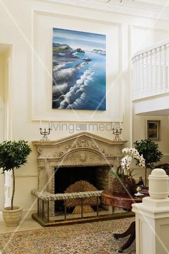 offener kamin mit steinsch rze unter modernem bild auf. Black Bedroom Furniture Sets. Home Design Ideas