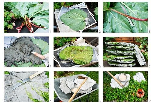 Betonplatten in Form von Rhabarberblatt herstellen – Bild kaufen ...