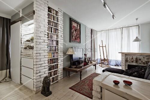 Knstliche Ziegelwand Wohnzimmer Sichtbarer Und Traditioneller