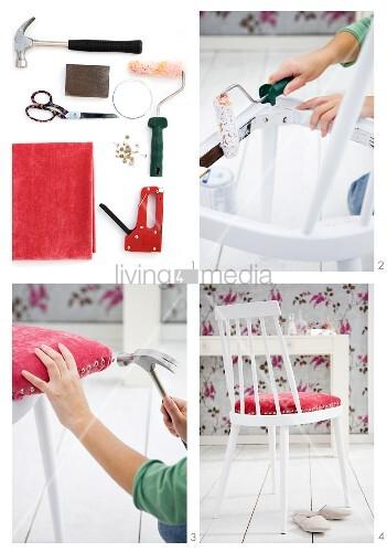 einen alten holzstuhl neu gestalten bild kaufen living4media. Black Bedroom Furniture Sets. Home Design Ideas