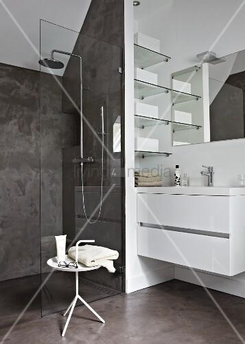 zeitgen ssisches badezimmer mit duschbereich hinter der glastrennwand bild kaufen living4media. Black Bedroom Furniture Sets. Home Design Ideas