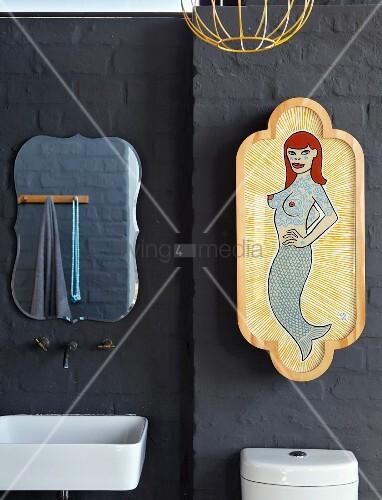 grau gestrichene ziegelwand mit wandarmatur und. Black Bedroom Furniture Sets. Home Design Ideas