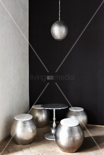 Barrel Shaped Metal Stools Side Table Amp Pendant Lamp In