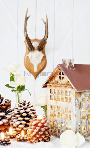 beleuchtetes dekoh uschen tannenzapfen und weisse rosen. Black Bedroom Furniture Sets. Home Design Ideas