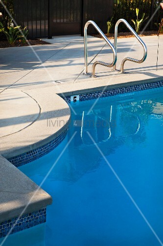 Schwimmbad mit edelstahl gel nder als einstiegshilfe for Edelstahl schwimmbad