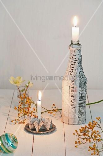 Weihnachtliche tischdeko gefalteter kerzenhalter und - Bilder mit zeitungspapier ...