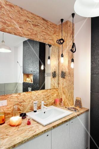 ma gefertigter waschtisch aus osb platten mit weissen. Black Bedroom Furniture Sets. Home Design Ideas