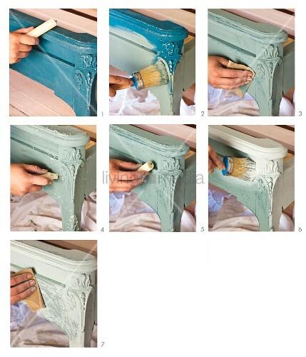 geschnitzten bettkopfteil mit pastellfarben aufpeppen bild kaufen living4media. Black Bedroom Furniture Sets. Home Design Ideas
