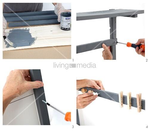 schreibtischaufsatz aus holzleisten selber bauen bild kaufen living4media. Black Bedroom Furniture Sets. Home Design Ideas