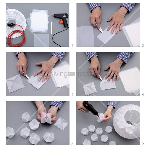 Instructions for making an origami lampshade