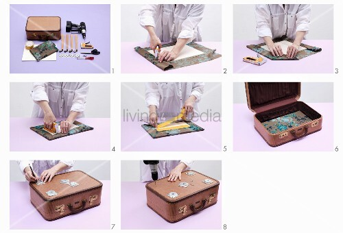 Instructions for making table from vintage suitcase