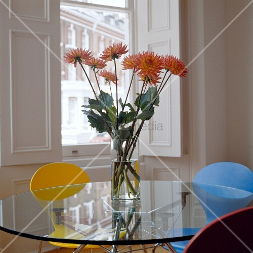 orangefarbene blumen in glasvase auf tischplatte aus glas. Black Bedroom Furniture Sets. Home Design Ideas