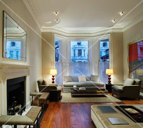 Classic Living Room With Fireplace And Light Grey Sofa Set