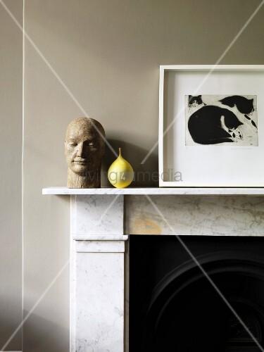 kaminsims mit deko bild kaufen living4media. Black Bedroom Furniture Sets. Home Design Ideas
