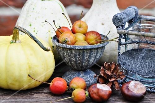 Herbstdeko mit Kürbis, Zieräpfeln, Kastanien und Zapfen