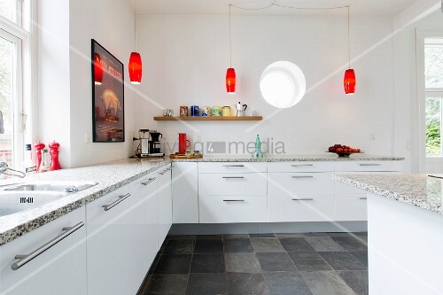 Simple white fitted kitchen with granite worksurface and for Red fitted kitchen