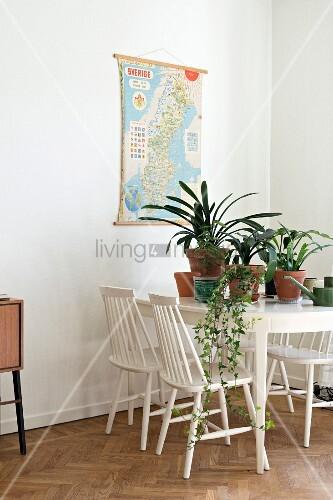 wei e holzst hle um esstisch mit topfpflanzen in retro. Black Bedroom Furniture Sets. Home Design Ideas