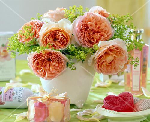 strau mit englische rose abraham darby alchemilla bild kaufen living4media. Black Bedroom Furniture Sets. Home Design Ideas