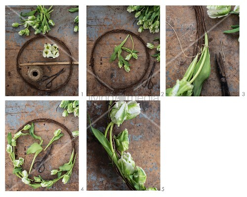 Instructions for making a rustic wreath from rusty wire and tulips