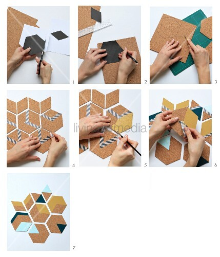 Instructions for making geometric cork coasters