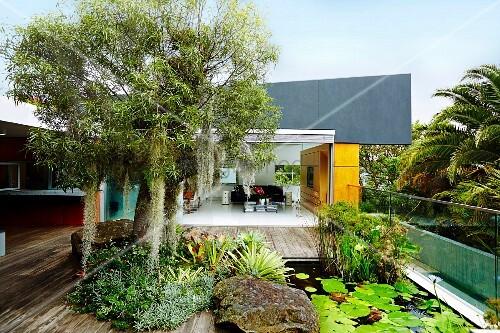 bepflanzte holzterrasse mit teich und glasbalustrade im hintergrund blick in offenes wohnzimmer. Black Bedroom Furniture Sets. Home Design Ideas