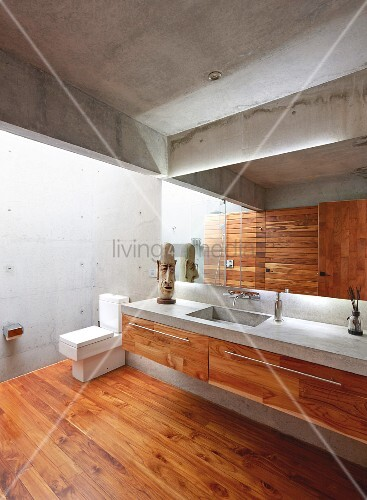 Moderne architektur im badezimmer aus beton und holz for Badezimmer beton holz