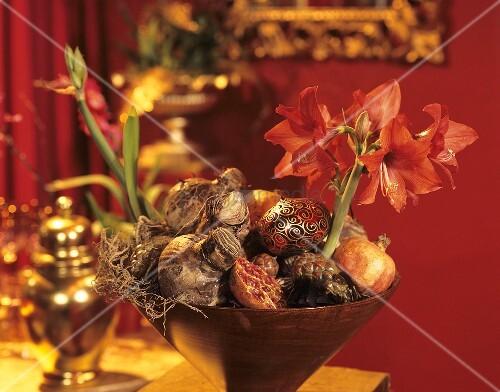 schale mit amaryllis granatapfel zwiebel und baumschmuck. Black Bedroom Furniture Sets. Home Design Ideas