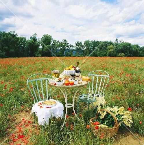 Gedeckter Tisch Im Garten: Gedeckter Tisch In Mohnblumenfeld Mit Wein,Brot,Gemüse