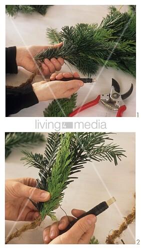 Girlande Binden girlande aus koniferengrün binden bild kaufen living4media