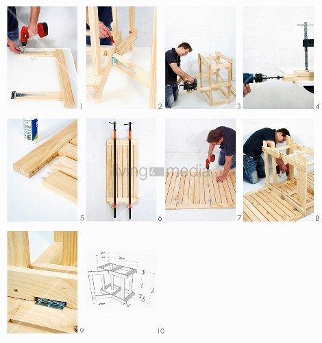 klappbaren holztisch selber bauen tischplatte mit klemmen. Black Bedroom Furniture Sets. Home Design Ideas