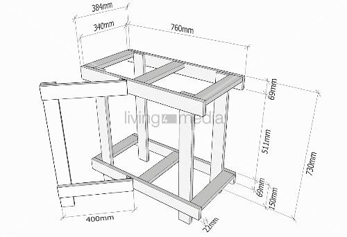 klappbarer holztisch selber bauen modellzeichnung bild. Black Bedroom Furniture Sets. Home Design Ideas