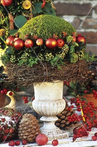 weihnachtliches gesteck aus moos pfeln und efeu bild. Black Bedroom Furniture Sets. Home Design Ideas