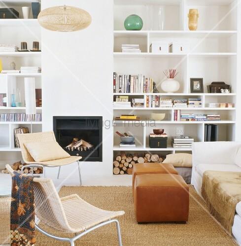 Wohnzimmer mit kamin bild kaufen living4media - Wohnzimmer mit kamin bilder ...