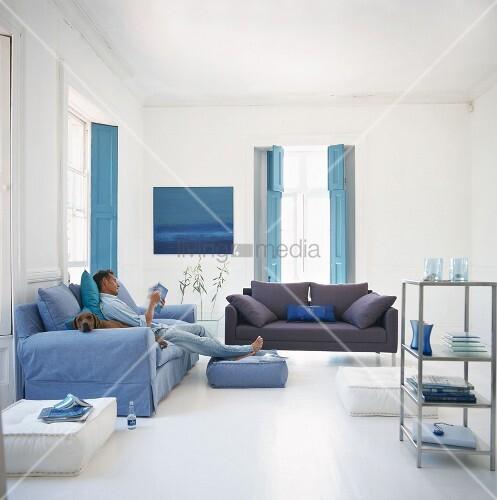 mann und hund auf sofa im maritim eingerichtetem. Black Bedroom Furniture Sets. Home Design Ideas