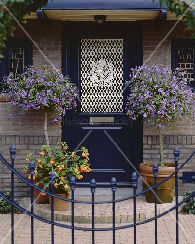 Front door with container plants bild kaufen living4media for Potted plants by front door