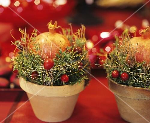 kleines weihnachtsgesteck mit granatapfel bild kaufen. Black Bedroom Furniture Sets. Home Design Ideas