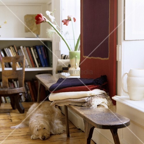 rustikale afrikanische holzbank vor fenster und weisser. Black Bedroom Furniture Sets. Home Design Ideas