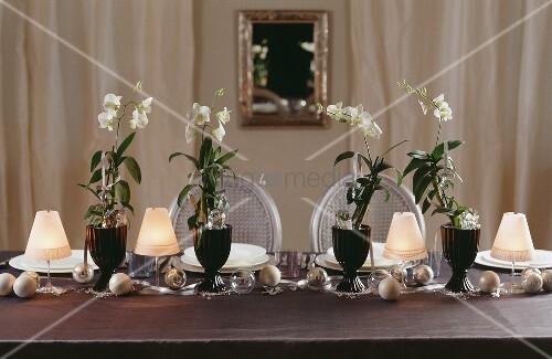 weihnachtlich dekorierter esstisch mit weissen orchideen. Black Bedroom Furniture Sets. Home Design Ideas