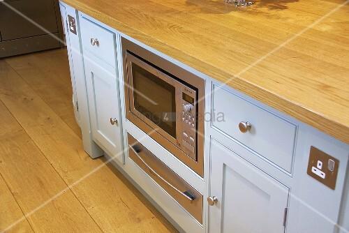 Nahaufnahme einer pastellblauen Küchenzeile ausgestattet mit einer Mikrowelle und einer